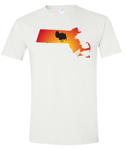 Short Sleeve T-Shirt Massachusetts White Turkey Vibrant Design High Quality Tight Knit Ring Spun Low Maintenance Cotton Printed With The Newest Available Color Transfer Technology