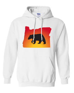 Pullover Hooded Sweatshirt Oregon White Black Bear Vibrant Design High Quality Tight Knit Ring Spun Low Maintenance Cotton Printed With The Newest Available Color Transfer Technology