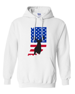 Pullover Hooded Sweatshirt Indiana White Whitetail Deer Vibrant Design High Quality Tight Knit Ring Spun Low Maintenance Cotton Printed With The Newest Available Color Transfer Technology