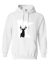 Load image into Gallery viewer, Pullover Hooded Sweatshirt Minnesota White Whitetail Deer Vibrant Design High Quality Tight Knit Ring Spun Low Maintenance Cotton Printed With The Newest Available Color Transfer Technology