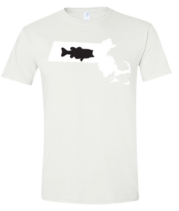 Short Sleeve T-Shirt Massachusetts White Large Mouth Bass Vibrant Design High Quality Tight Knit Ring Spun Low Maintenance Cotton Printed With The Newest Available Color Transfer Technology