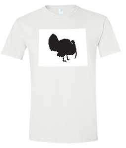 Short Sleeve T-Shirt Wyoming White Turkey Vibrant Design High Quality Tight Knit Ring Spun Low Maintenance Cotton Printed With The Newest Available Color Transfer Technology