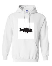 Load image into Gallery viewer, Pullover Hooded Sweatshirt Utah White Large Mouth Bass Vibrant Design High Quality Tight Knit Ring Spun Low Maintenance Cotton Printed With The Newest Available Color Transfer Technology