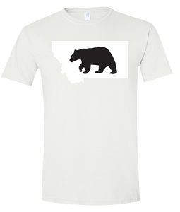 Short Sleeve T-Shirt Montana White Black Bear Vibrant Design High Quality Tight Knit Ring Spun Low Maintenance Cotton Printed With The Newest Available Color Transfer Technology