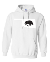Load image into Gallery viewer, Pullover Hooded Sweatshirt Oklahoma White Wild Hog Vibrant Design High Quality Tight Knit Ring Spun Low Maintenance Cotton Printed With The Newest Available Color Transfer Technology