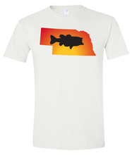 Load image into Gallery viewer, Short Sleeve T-Shirt Nebraska White Large Mouth Bass Vibrant Design High Quality Tight Knit Ring Spun Low Maintenance Cotton Printed With The Newest Available Color Transfer Technology
