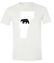 Load image into Gallery viewer, Short Sleeve T-Shirt Vermont White Black Bear Vibrant Design High Quality Tight Knit Ring Spun Low Maintenance Cotton Printed With The Newest Available Color Transfer Technology