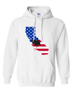 Pullover Hooded Sweatshirt California White Turkey Vibrant Design High Quality Tight Knit Ring Spun Low Maintenance Cotton Printed With The Newest Available Color Transfer Technology