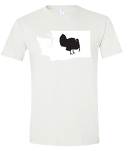Load image into Gallery viewer, Short Sleeve T-Shirt Washington White Turkey Vibrant Design High Quality Tight Knit Ring Spun Low Maintenance Cotton Printed With The Newest Available Color Transfer Technology