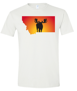 Short Sleeve T-Shirt Montana White Moose Vibrant Design High Quality Tight Knit Ring Spun Low Maintenance Cotton Printed With The Newest Available Color Transfer Technology