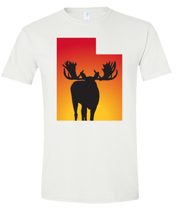 Short Sleeve T-Shirt Utah White Moose Vibrant Design High Quality Tight Knit Ring Spun Low Maintenance Cotton Printed With The Newest Available Color Transfer Technology