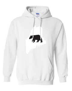 Pullover Hooded Sweatshirt Maine White Black Bear Vibrant Design High Quality Tight Knit Ring Spun Low Maintenance Cotton Printed With The Newest Available Color Transfer Technology