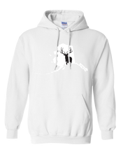 Load image into Gallery viewer, Pullover Hooded Sweatshirt Alaska White Elk Vibrant Design High Quality Tight Knit Ring Spun Low Maintenance Cotton Printed With The Newest Available Color Transfer Technology
