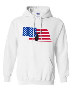 Pullover Hooded Sweatshirt Nebraska White Mule Deer Vibrant Design High Quality Tight Knit Ring Spun Low Maintenance Cotton Printed With The Newest Available Color Transfer Technology