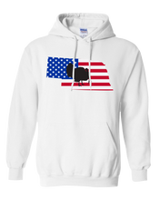 Load image into Gallery viewer, Pullover Hooded Sweatshirt Nebraska White Turkey Vibrant Design High Quality Tight Knit Ring Spun Low Maintenance Cotton Printed With The Newest Available Color Transfer Technology