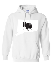 Load image into Gallery viewer, Pullover Hooded Sweatshirt Connecticut White Turkey Vibrant Design High Quality Tight Knit Ring Spun Low Maintenance Cotton Printed With The Newest Available Color Transfer Technology