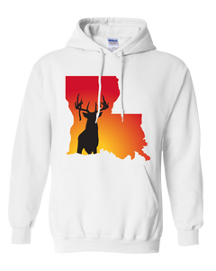 Pullover Hooded Sweatshirt Louisiana White Whitetail Deer Vibrant Design High Quality Tight Knit Ring Spun Low Maintenance Cotton Printed With The Newest Available Color Transfer Technology