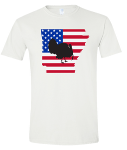 Short Sleeve T-Shirt Arkansas White Turkey Vibrant Design High Quality Tight Knit Ring Spun Low Maintenance Cotton Printed With The Newest Available Color Transfer Technology