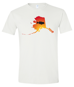 Short Sleeve T-Shirt Alaska White Large Mouth Bass Vibrant Design High Quality Tight Knit Ring Spun Low Maintenance Cotton Printed With The Newest Available Color Transfer Technology