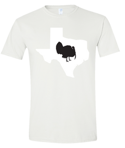 Short Sleeve T-Shirt Texas White Turkey Vibrant Design High Quality Tight Knit Ring Spun Low Maintenance Cotton Printed With The Newest Available Color Transfer Technology