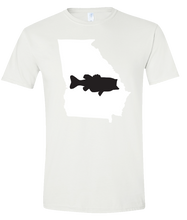Load image into Gallery viewer, Short Sleeve T-Shirt Georgia White Large Mouth Bass Vibrant Design High Quality Tight Knit Ring Spun Low Maintenance Cotton Printed With The Newest Available Color Transfer Technology