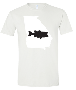 Short Sleeve T-Shirt Georgia White Large Mouth Bass Vibrant Design High Quality Tight Knit Ring Spun Low Maintenance Cotton Printed With The Newest Available Color Transfer Technology