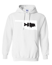 Load image into Gallery viewer, Pullover Hooded Sweatshirt Oklahoma White Large Mouth Bass Vibrant Design High Quality Tight Knit Ring Spun Low Maintenance Cotton Printed With The Newest Available Color Transfer Technology