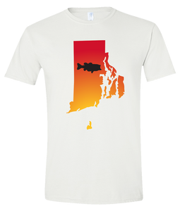 Short Sleeve T-Shirt Rhode Island White Large Mouth Bass Vibrant Design High Quality Tight Knit Ring Spun Low Maintenance Cotton Printed With The Newest Available Color Transfer Technology