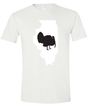Load image into Gallery viewer, Short Sleeve T-Shirt Illinois White Turkey Vibrant Design High Quality Tight Knit Ring Spun Low Maintenance Cotton Printed With The Newest Available Color Transfer Technology