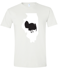 Short Sleeve T-Shirt Illinois White Turkey Vibrant Design High Quality Tight Knit Ring Spun Low Maintenance Cotton Printed With The Newest Available Color Transfer Technology