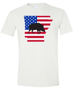 Short Sleeve T-Shirt Arkansas White Wild Hog Vibrant Design High Quality Tight Knit Ring Spun Low Maintenance Cotton Printed With The Newest Available Color Transfer Technology