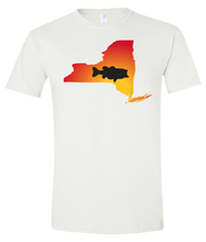 Load image into Gallery viewer, Short Sleeve T-Shirt New York White Large Mouth Bass Vibrant Design High Quality Tight Knit Ring Spun Low Maintenance Cotton Printed With The Newest Available Color Transfer Technology