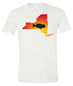 Short Sleeve T-Shirt New York White Large Mouth Bass Vibrant Design High Quality Tight Knit Ring Spun Low Maintenance Cotton Printed With The Newest Available Color Transfer Technology