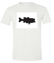 Load image into Gallery viewer, Short Sleeve T-Shirt Wyoming White Large Mouth Bass Vibrant Design High Quality Tight Knit Ring Spun Low Maintenance Cotton Printed With The Newest Available Color Transfer Technology