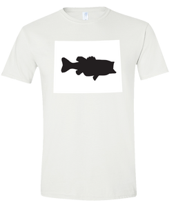 Short Sleeve T-Shirt Wyoming White Large Mouth Bass Vibrant Design High Quality Tight Knit Ring Spun Low Maintenance Cotton Printed With The Newest Available Color Transfer Technology