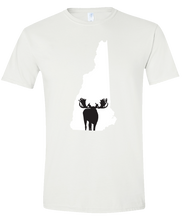 Load image into Gallery viewer, Short Sleeve T-Shirt New Hampshire White Moose Vibrant Design High Quality Tight Knit Ring Spun Low Maintenance Cotton Printed With The Newest Available Color Transfer Technology