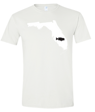 Load image into Gallery viewer, Short Sleeve T-Shirt Florida White Large Mouth Bass Vibrant Design High Quality Tight Knit Ring Spun Low Maintenance Cotton Printed With The Newest Available Color Transfer Technology