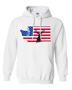 Pullover Hooded Sweatshirt Washington White Mule Deer Vibrant Design High Quality Tight Knit Ring Spun Low Maintenance Cotton Printed With The Newest Available Color Transfer Technology