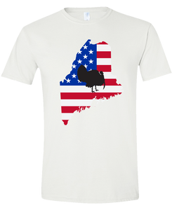 Short Sleeve T-Shirt Maine White Turkey Vibrant Design High Quality Tight Knit Ring Spun Low Maintenance Cotton Printed With The Newest Available Color Transfer Technology