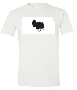 Short Sleeve T-Shirt Kansas White Turkey Vibrant Design High Quality Tight Knit Ring Spun Low Maintenance Cotton Printed With The Newest Available Color Transfer Technology