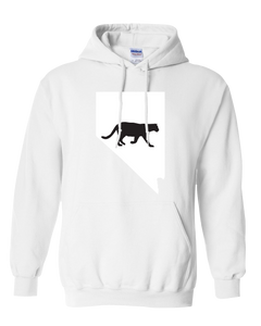 Pullover Hooded Sweatshirt Nevada White Mountain Lion Vibrant Design High Quality Tight Knit Ring Spun Low Maintenance Cotton Printed With The Newest Available Color Transfer Technology