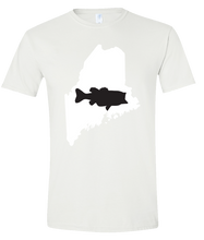 Load image into Gallery viewer, Short Sleeve T-Shirt Maine White Large Mouth Bass Vibrant Design High Quality Tight Knit Ring Spun Low Maintenance Cotton Printed With The Newest Available Color Transfer Technology