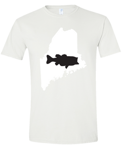 Short Sleeve T-Shirt Maine White Large Mouth Bass Vibrant Design High Quality Tight Knit Ring Spun Low Maintenance Cotton Printed With The Newest Available Color Transfer Technology
