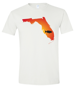Short Sleeve T-Shirt Florida White Large Mouth Bass Vibrant Design High Quality Tight Knit Ring Spun Low Maintenance Cotton Printed With The Newest Available Color Transfer Technology