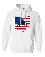 Load image into Gallery viewer, Pullover Hooded Sweatshirt Ohio White Wild Hog Vibrant Design High Quality Tight Knit Ring Spun Low Maintenance Cotton Printed With The Newest Available Color Transfer Technology