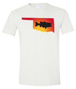 Short Sleeve T-Shirt Oklahoma White Large Mouth Bass Vibrant Design High Quality Tight Knit Ring Spun Low Maintenance Cotton Printed With The Newest Available Color Transfer Technology