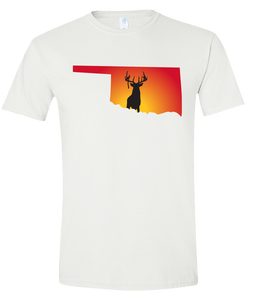 Short Sleeve T-Shirt Oklahoma White Whitetail Deer Vibrant Design High Quality Tight Knit Ring Spun Low Maintenance Cotton Printed With The Newest Available Color Transfer Technology