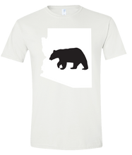 Load image into Gallery viewer, Short Sleeve T-Shirt Arizona White Black Bear Vibrant Design High Quality Tight Knit Ring Spun Low Maintenance Cotton Printed With The Newest Available Color Transfer Technology