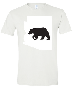 Short Sleeve T-Shirt Arizona White Black Bear Vibrant Design High Quality Tight Knit Ring Spun Low Maintenance Cotton Printed With The Newest Available Color Transfer Technology