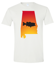 Load image into Gallery viewer, Short Sleeve T-Shirt Alabama White Large Mouth Bass Vibrant Design High Quality Tight Knit Ring Spun Low Maintenance Cotton Printed With The Newest Available Color Transfer Technology